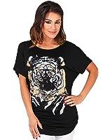 KRISP Women Oversized Casual Tshirt Baggy Tiger Printed Batwing Tops