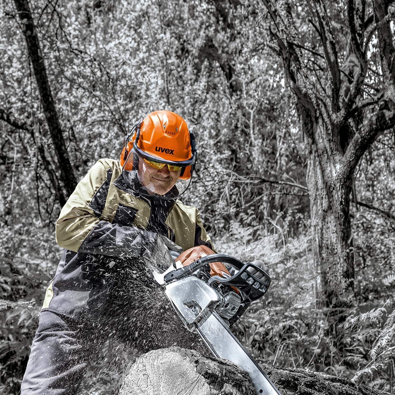 Uvex 9774233 Schutzhelm f/ür die Arbeit mit Kettens/ägen /& Waldarbeit Orange