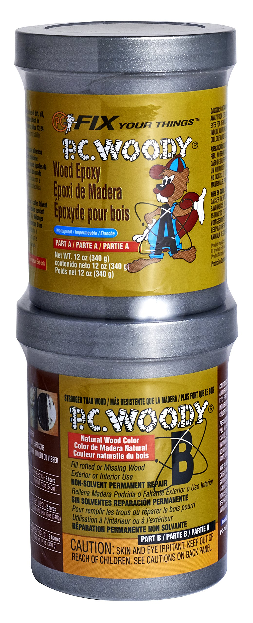 PC Products PC-Woody Wood Repair Epoxy Paste, Two-Part 12oz in Two