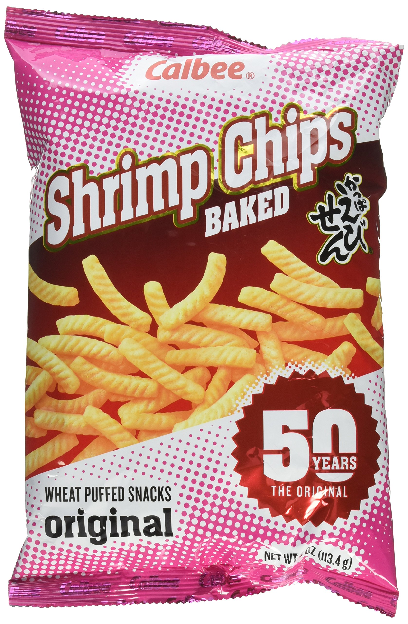 Calbee Shrimp flavored chips baked 4oz (Pack of 6) by Calbee