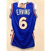 $149 » Julius Erving Dr J Philadelphia 76ers Signed Autograph Blue Custom Jersey JSA Witnessed…