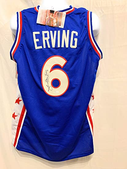 97432909a87 Julius Erving Dr J Philadelphia 76ers Signed Autograph Blue Custom Jersey  JSA Witnessed Certified