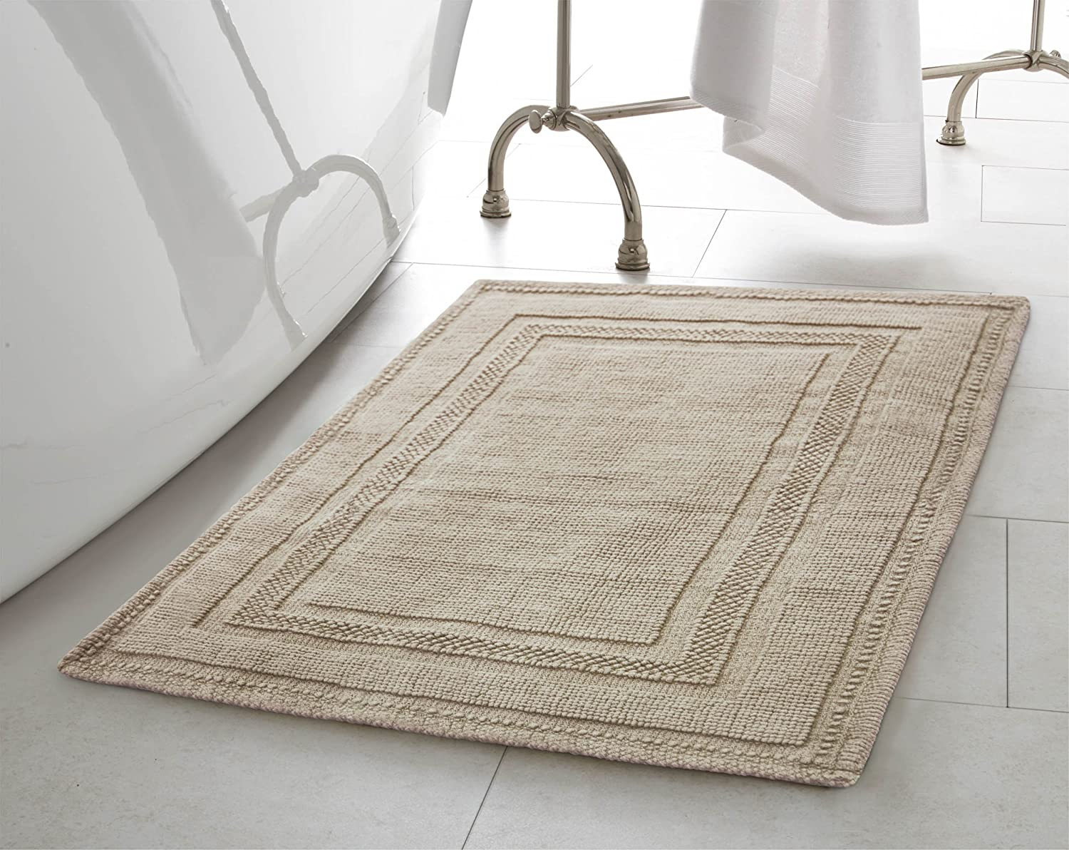 Jean Pierre New York Cotton StoneWash Racetrack 21x34 in. Bath Rug, Taupe Gray