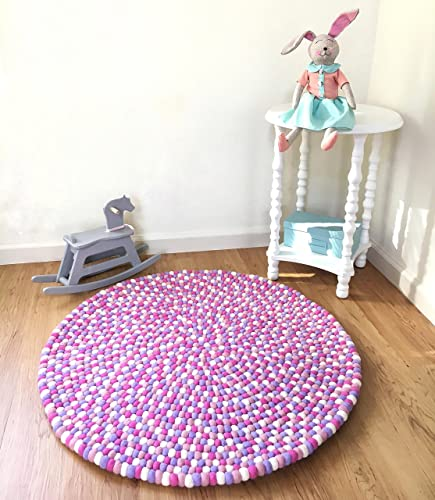 Amazon Com Felt Ball Rug Lavender Purple Pink White Girl Nursery