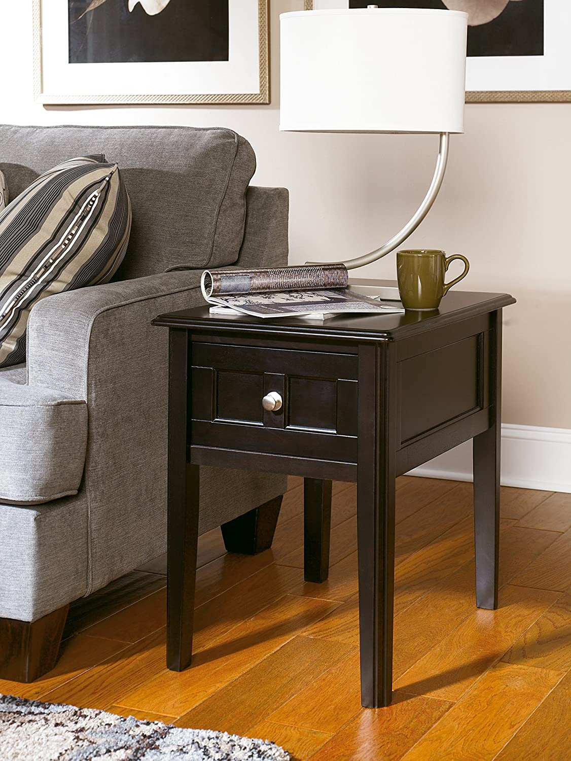 Ashley Furniture Signature Design - Henning Chair Side End Table - 1 Drawer - Contemporary - Almost Black Finish