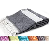 The Riviera Towel Cotton Diamond Print Turkish Towel, Dark Grey