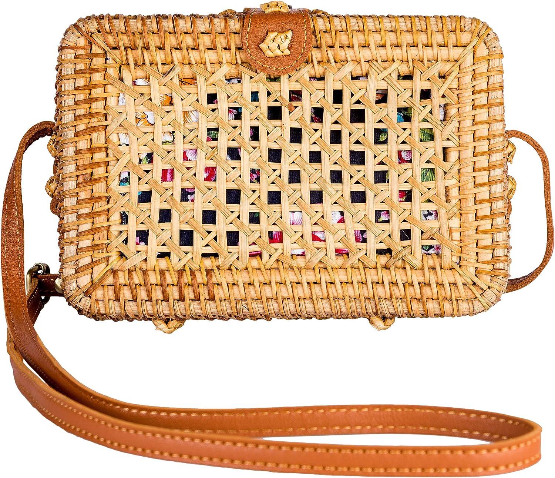 Women Round Straw Bags Adjust Leather Straps Shoulder Bag Summer Bohemian Woven Handbags Beach Rattan Crossbody Bags