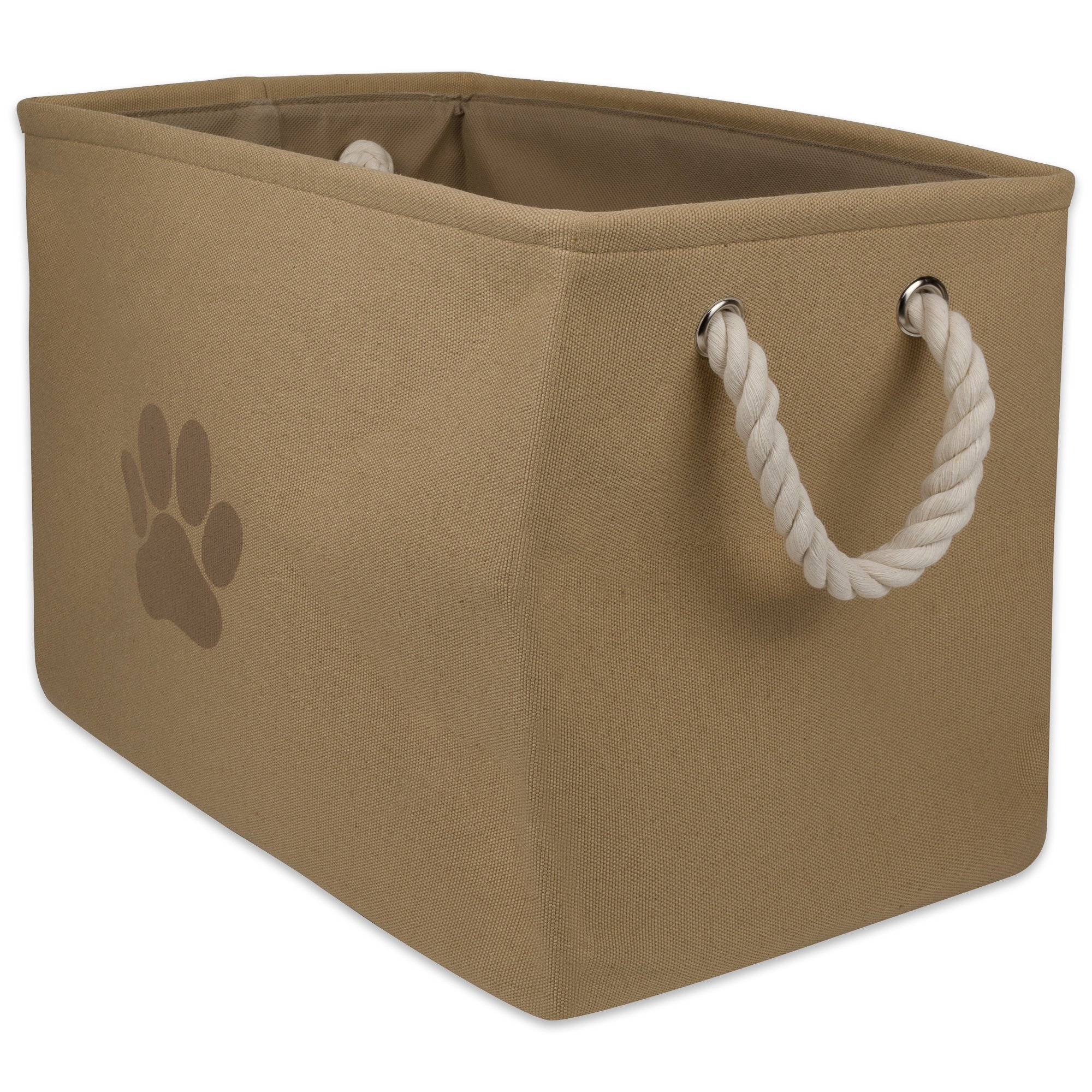 Bone Dry DII Medium Rectangle Pet Toy and Accessory Storage Bin, 16x10x12, Collapsible Organizer Storage Basket for Home Décor, Pet Toy, Blankets, Leashes and Food-Taupe Paw Print