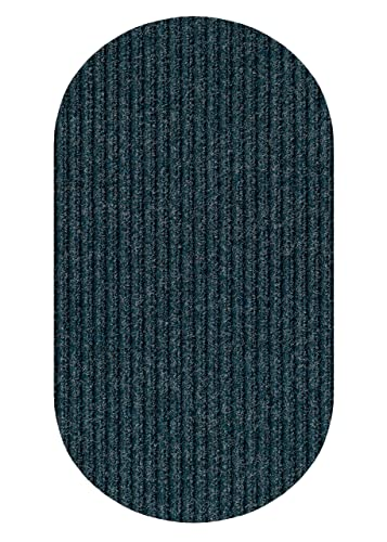 Oval 6 X9 Indigo Blue Indoor Outdoor Area Rug Carpet, Runners Stair Treads with a Rubber Backing 1 4 Thick MANY SIZES and Shapes. Rectangles, Squares, Circles, Half Rounds, Ovals, and Runners.
