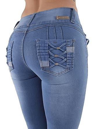ca7248ffc0b0d Plus Size Colombian Design Butt Lift Levanta Cola Skinny Denim Jeans in  Light Blue Size 14