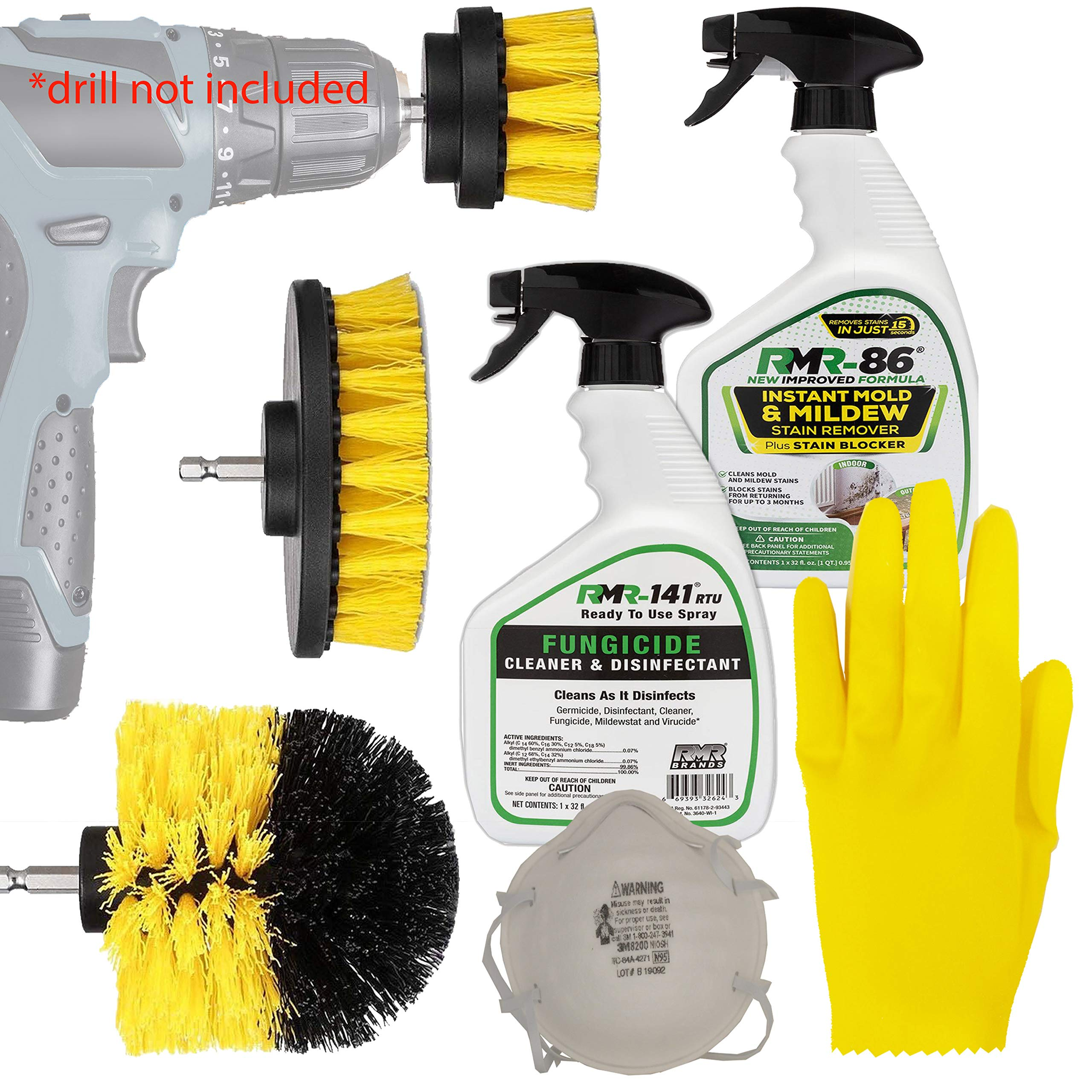 Complete RMR 86 Brands Mold Remover Kit: RMR 141 Black and Mildew Killer Removal Spray, RMR86 Stain Cleaner, Drill Brush Power Scrubber Attachment Set, 3M N95 Particle Respirator Mask, Thick Gloves. by HeroFiber