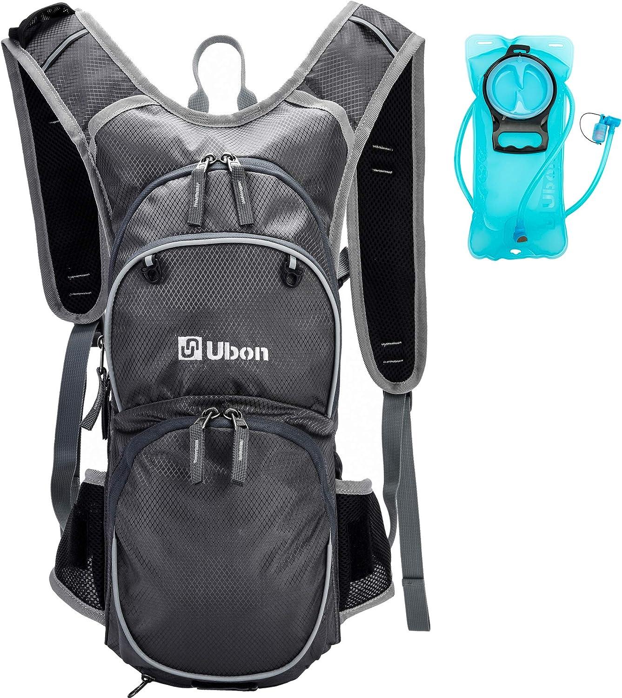Ubon Lightweight Hiking Hydration Backpack with 2L Water Bladder Helmet Holder