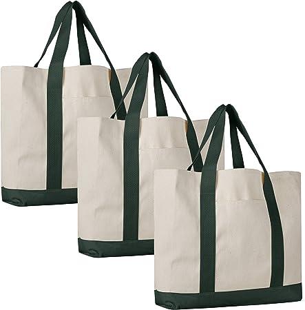 Pack de 3 – resistente lona de algodón de sarga Travel Tote Bolsas ...