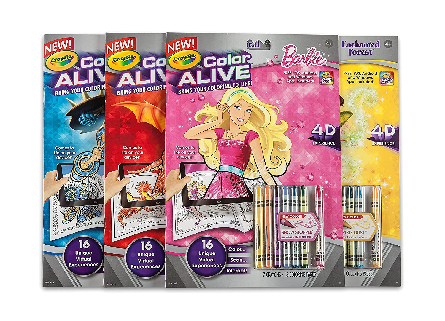 Online virtual coloring - Amazon Com Crayola Color Alive Action Coloring Pages Barbie Toys Games