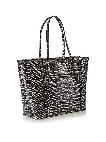 0539fcab78f8 Amazon.com  GUESS Women s Delaney Medium Classic Tote Black Multi Handbag   Shoes