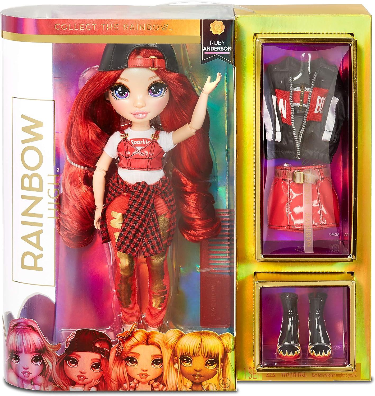 Rainbow High Muñecas de Moda Coleccionables - Ropa de Diseñador, Accesorios y Soporte - Ruby Anderson - Rainbow High Series