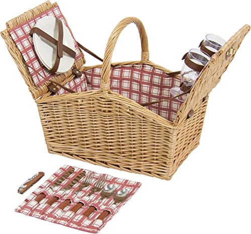 Best Choice Products 2-Person Wicker Double Lid Picnic Basket W Flatware, Glasses, Plates- Red White