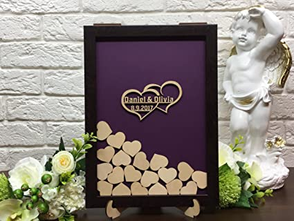 Amazoncom Personalized Wedding Guest Book Drop Top Box Heart