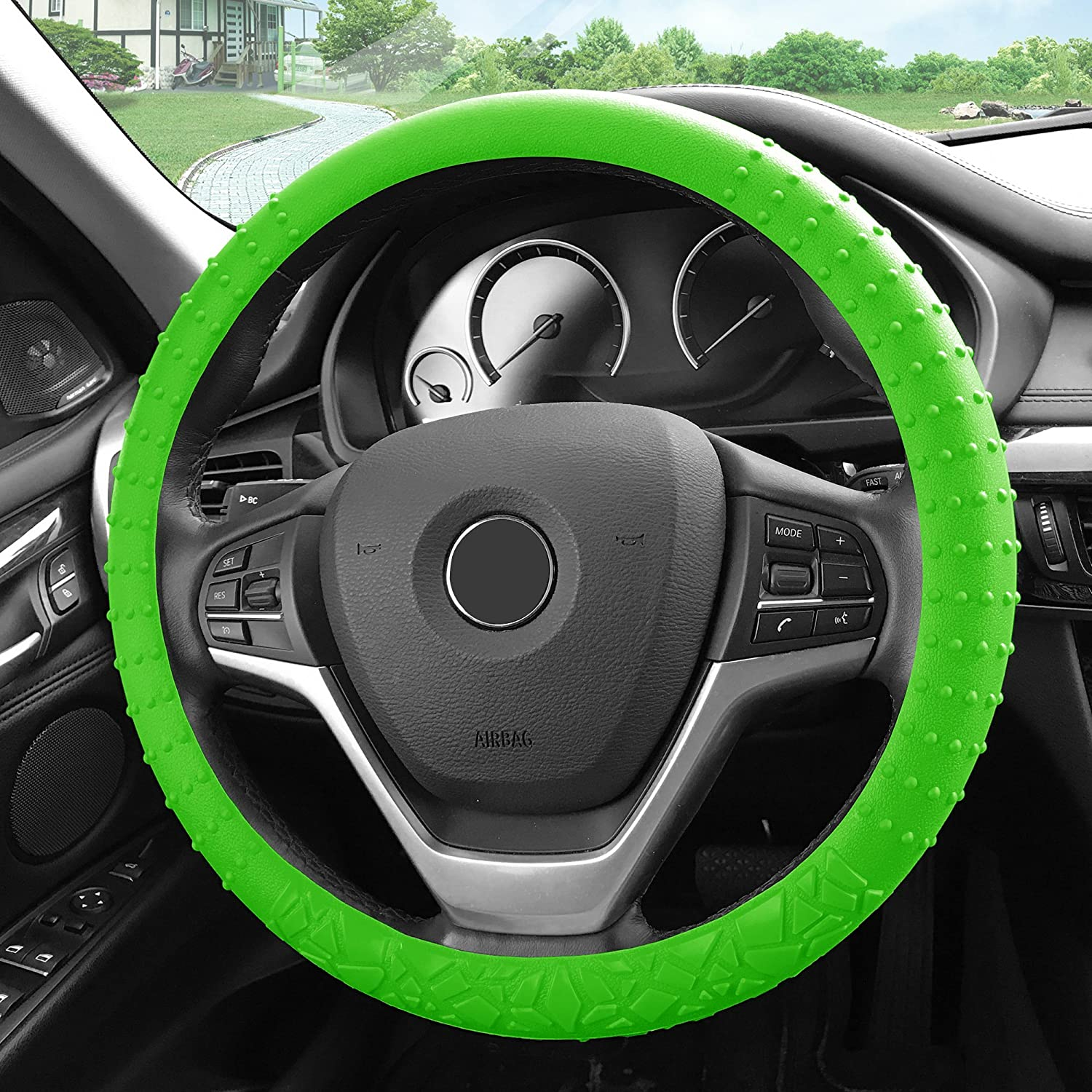 Silicone W. Nibs /& Pattern Massaging grip Wheel Cover Color-Fit Most Car Truck Suv or Van FH Group FH3002GREEN Green Steering Wheel Cover