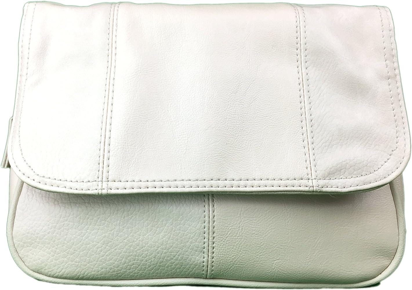 Faux Leather Flapover Style Handbag Compartments /& Adjustable Shoulder Strap