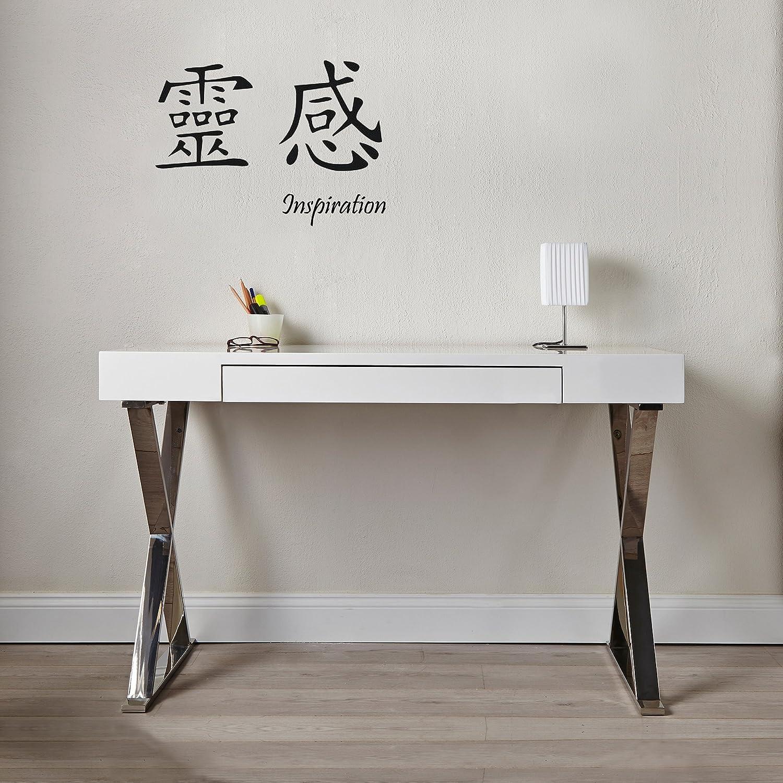 Schreibtisch designermöbel  CAGÜ - DESIGN SCHREIBTISCH [LONDON] WEISS HOCHGLANZ & CHROM 120cm ...