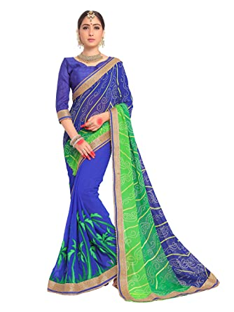 74d4ced194 Amazon.com: ELINA FASHION Sarees for Women Faux Georgette Embroidered Saree  l Indian Wedding Ethnic Sari & Blouse Piece (Blue): Clothing