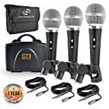 Pyle 3 Piece Professional Dynamic Microphone Kit Cardioid Unidirectional Vocal Handheld MIC with Hard Carry Case & Bag