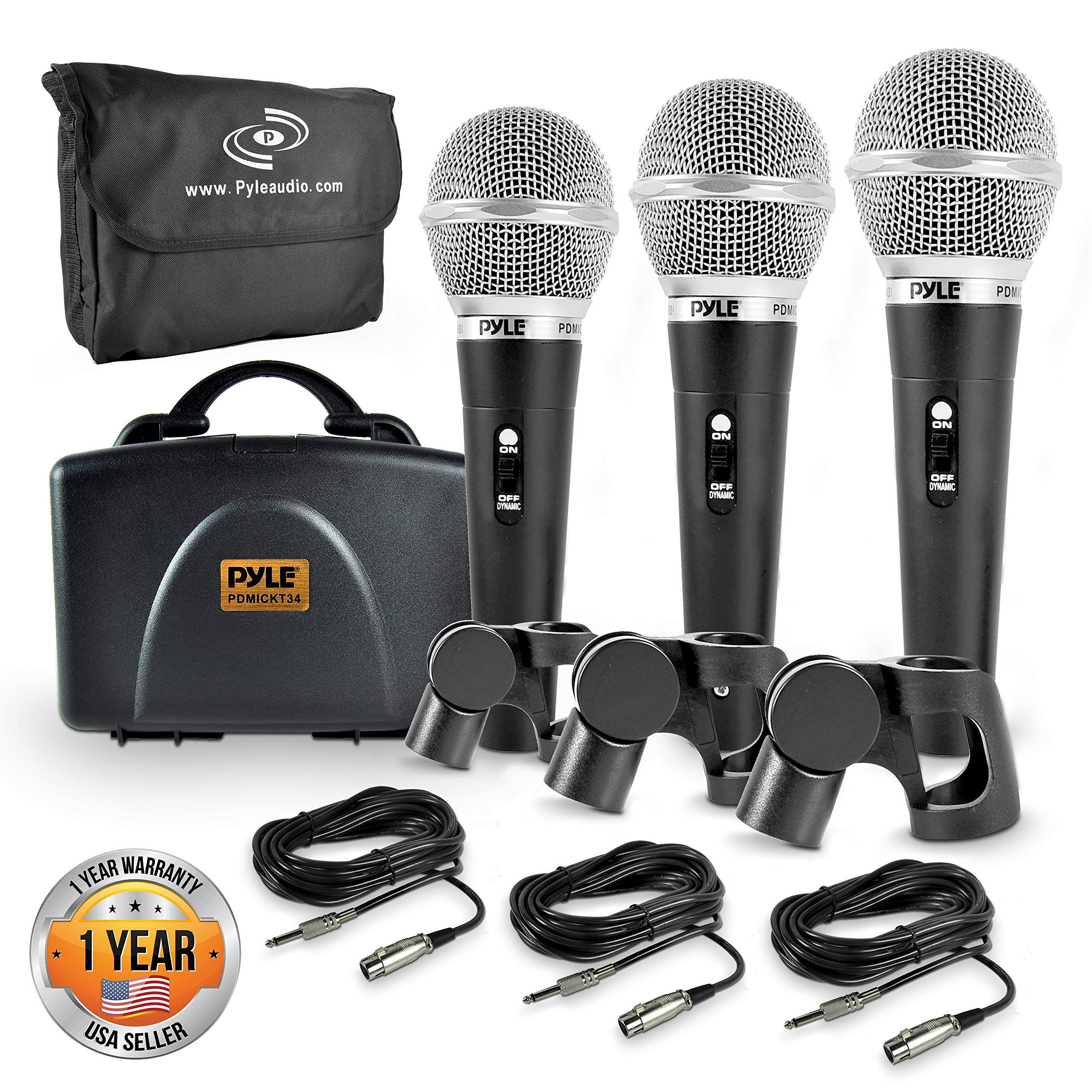 Pyle 3 Piece Professional Dynamic Microphone Kit Cardioid Unidirectional Vocal Handheld MIC with Hard Carry Case & Bag, Holder/Clip & 26ft XLR Audio Cable to 1/4'' Audio Connection (PDMICKT34) by Pyle