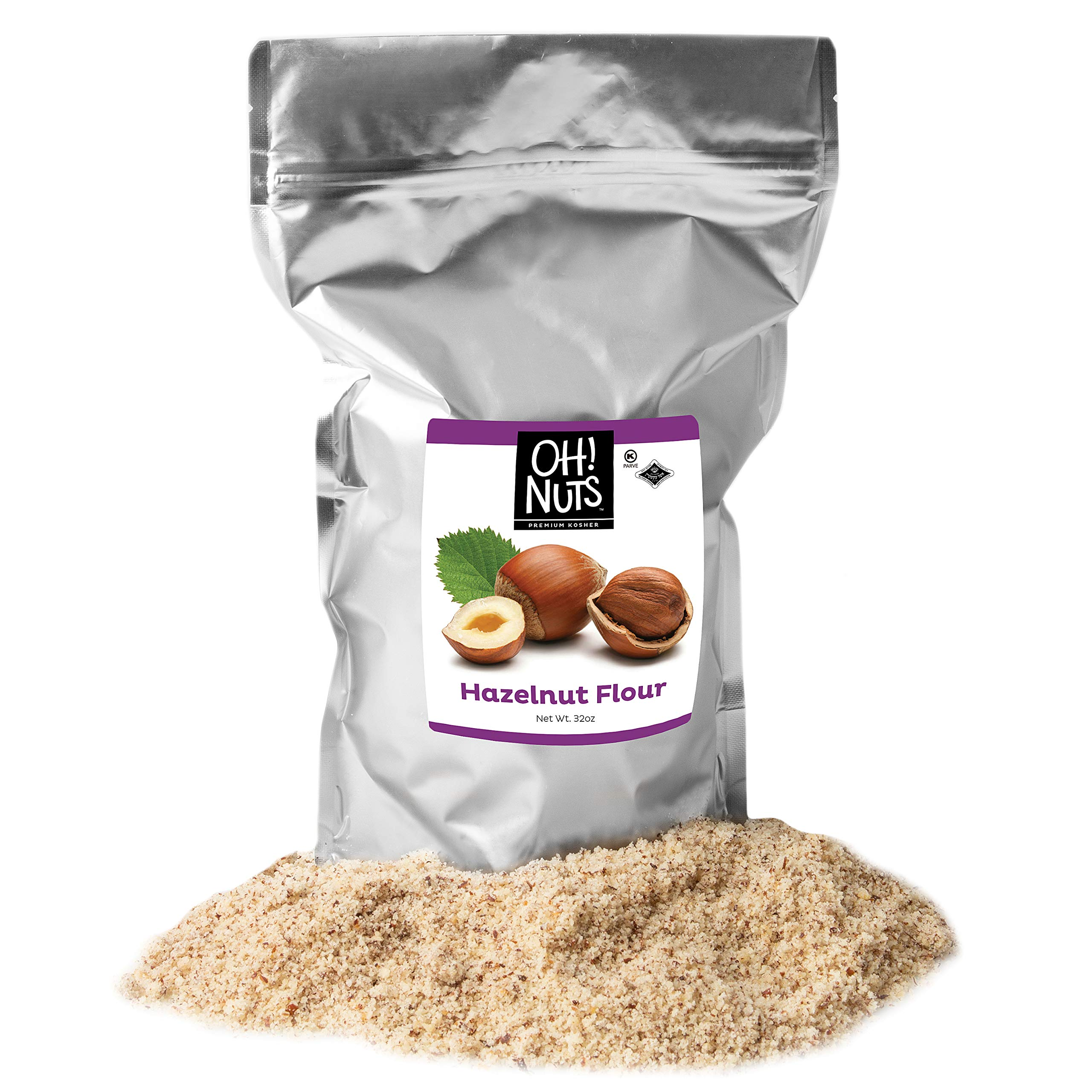 Oh! Nuts Ground Hazelnut Flour   2lb Bulk Bag Keto-Friendly Nut Flour from Ground Filberts, Kosher Gluten Free Baking Hazelnuts Meal, Vegan Milled Filberts   Healthy Alternative Certified Kosher