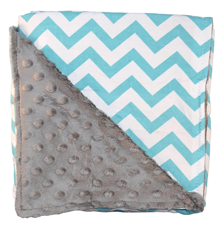 Unique Baby Trendy Blanket with Straight Edges Chevron Print Aqua