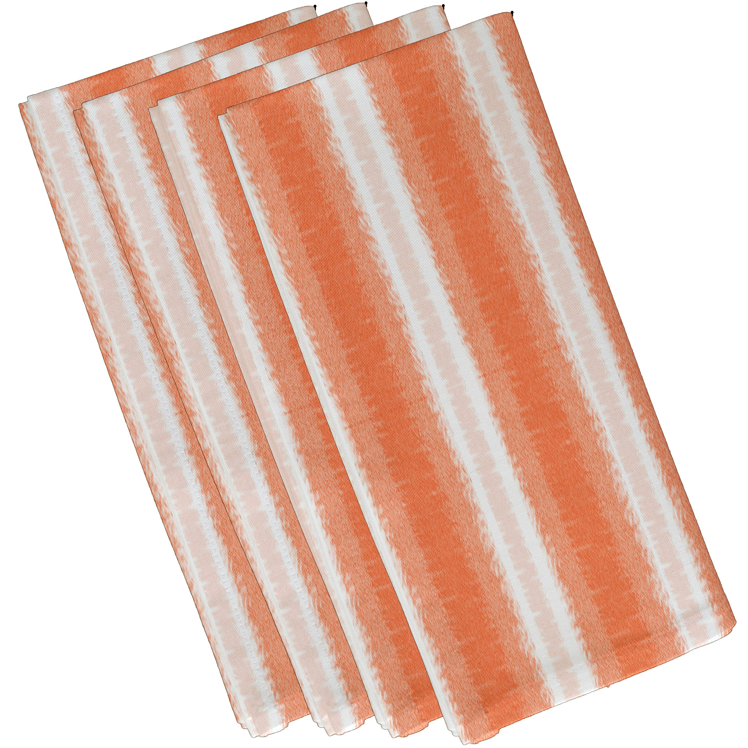 E by design N4S776O1 Sea Lines Stripe Print Napkin (Set of 4), 19'' x 19'', Orange