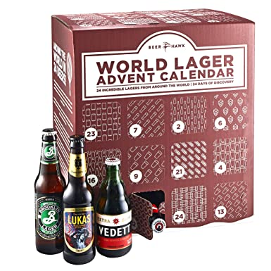 Beer Hawk World Lager Beer Advent Calendar 2018 – 24 Craft Beer Selection  Christmas Gift Set e8e3f0cfb
