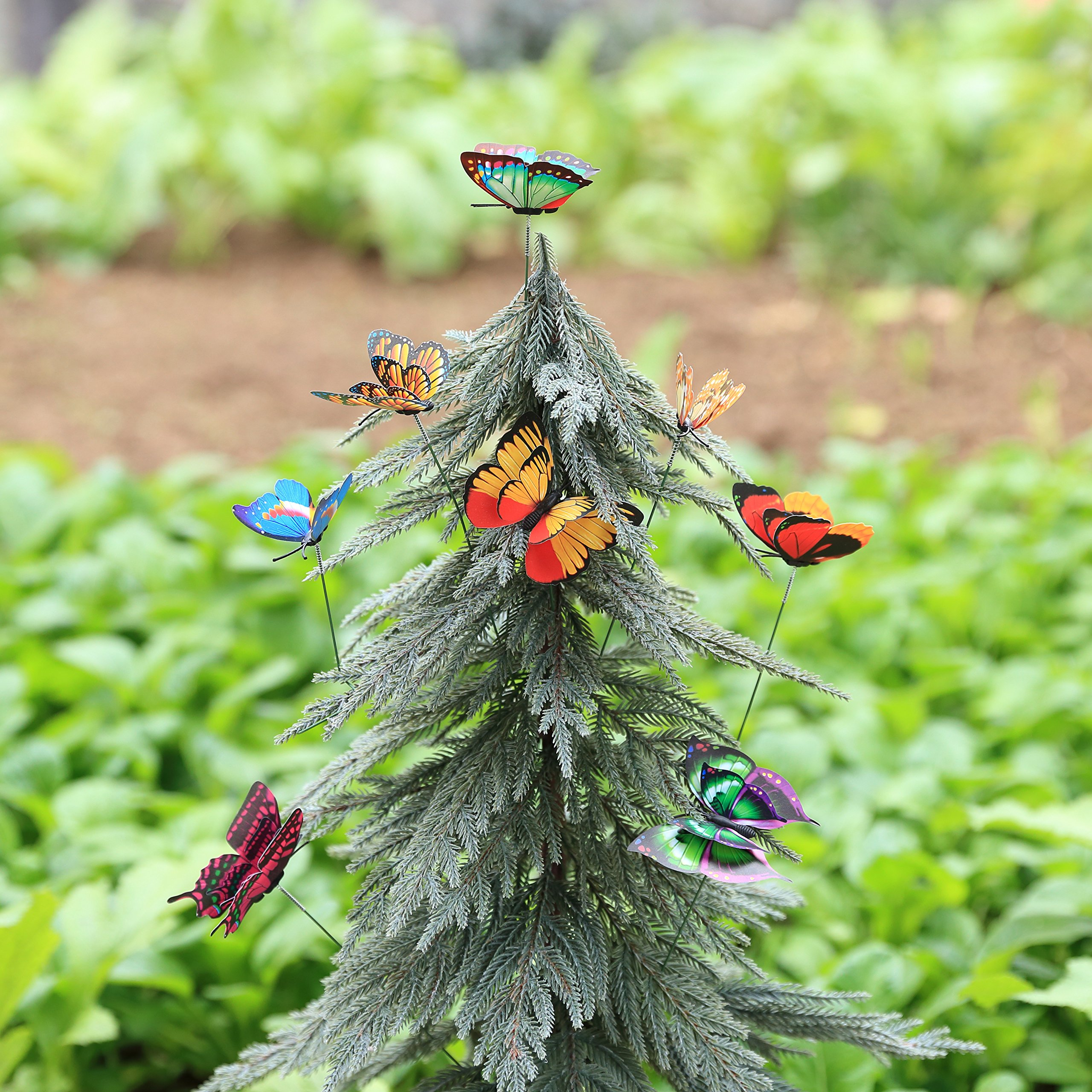 Ginsco 12pcs Colorful 3D Wings Butterfly Stakes Yard Patio Garden ...