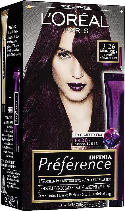 Tinte LOréal Paris Préférence, color 3.26, borgoña, 3 unidades.
