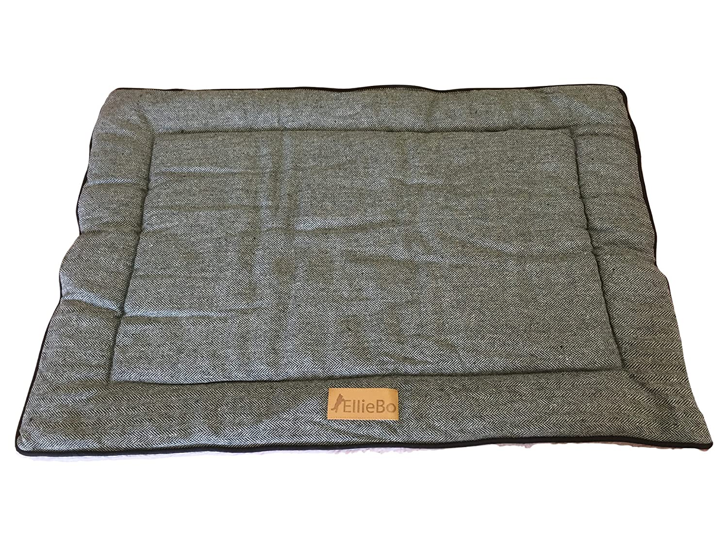 Ellie-Bo Reversible Tweed and Grey Faux Fur Mat Bed for Large 36 inch Dog Puppy Cages and Crates