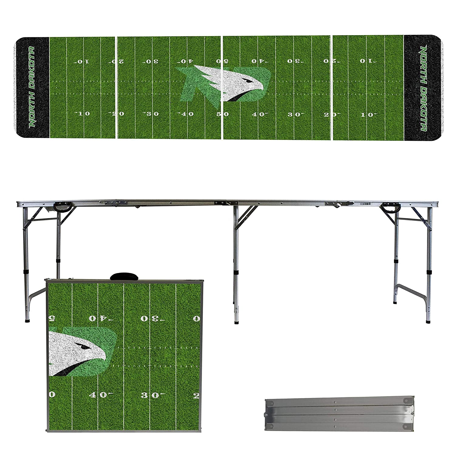 Victory Tailgate NCAA 8x2 Foldable Tailgate Table with Adjustable Height and Spill Resistant Sealant Football Field Series