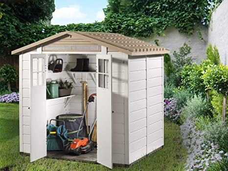 GARDIUN Caseta de Resina Tuscany EVO 200 Blanco/Beige 220x181x216 ...