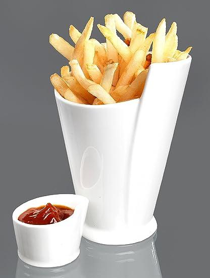 Cornet y bol para patatas fritas y salsa de porcelana