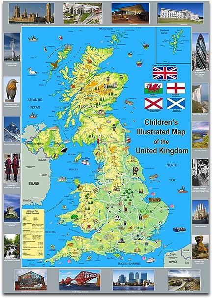 Los niños de la Illustrated Póster de mapa de el Reino Unido – papel laminado A1 Size 59.4 x 84.1 cm: Amazon.es: Oficina y papelería
