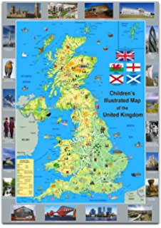 British isles wall map for children reversible politicalphysical childrens pictorial illustrated map of the united kingdom paper laminated a2 size 42 x sciox Image collections
