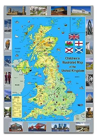 Carte Royaume Unis.Enfant Illustre Poster Carte Du Royaume Uni Papier Lamine A1