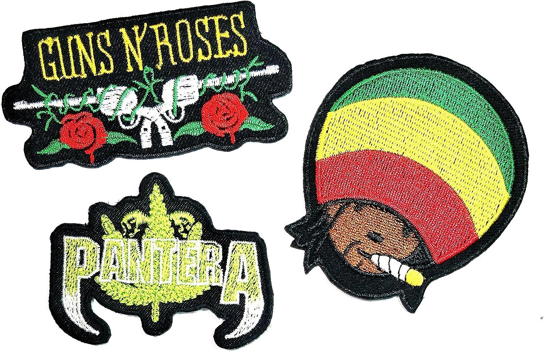 Juego de 3 piezas de parches de Guns N Roses Pantera Boba Marley ...