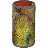 "LED Mosaic Flameless Candle, Cracked Glass Pattern, 3""D x 6""H,"
