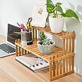 MyGift Tabletop Natural Bamboo Plant Stand, 2 Tier Desktop Shelf Rack, Brown