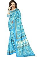 e-VASTRAM Womens Crepe Printed Art Silk Saree(V3127_Blue)