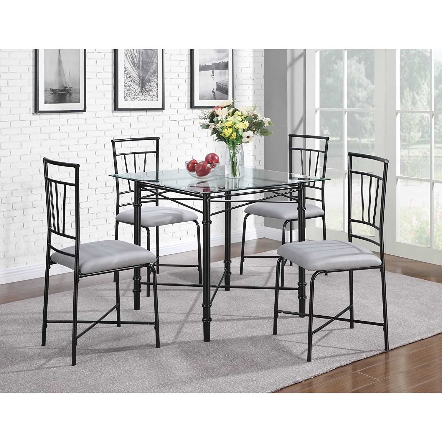 Amazon.com: Dorel Living 5-Piece Glass Top Metal Dining Set: Kitchen ...