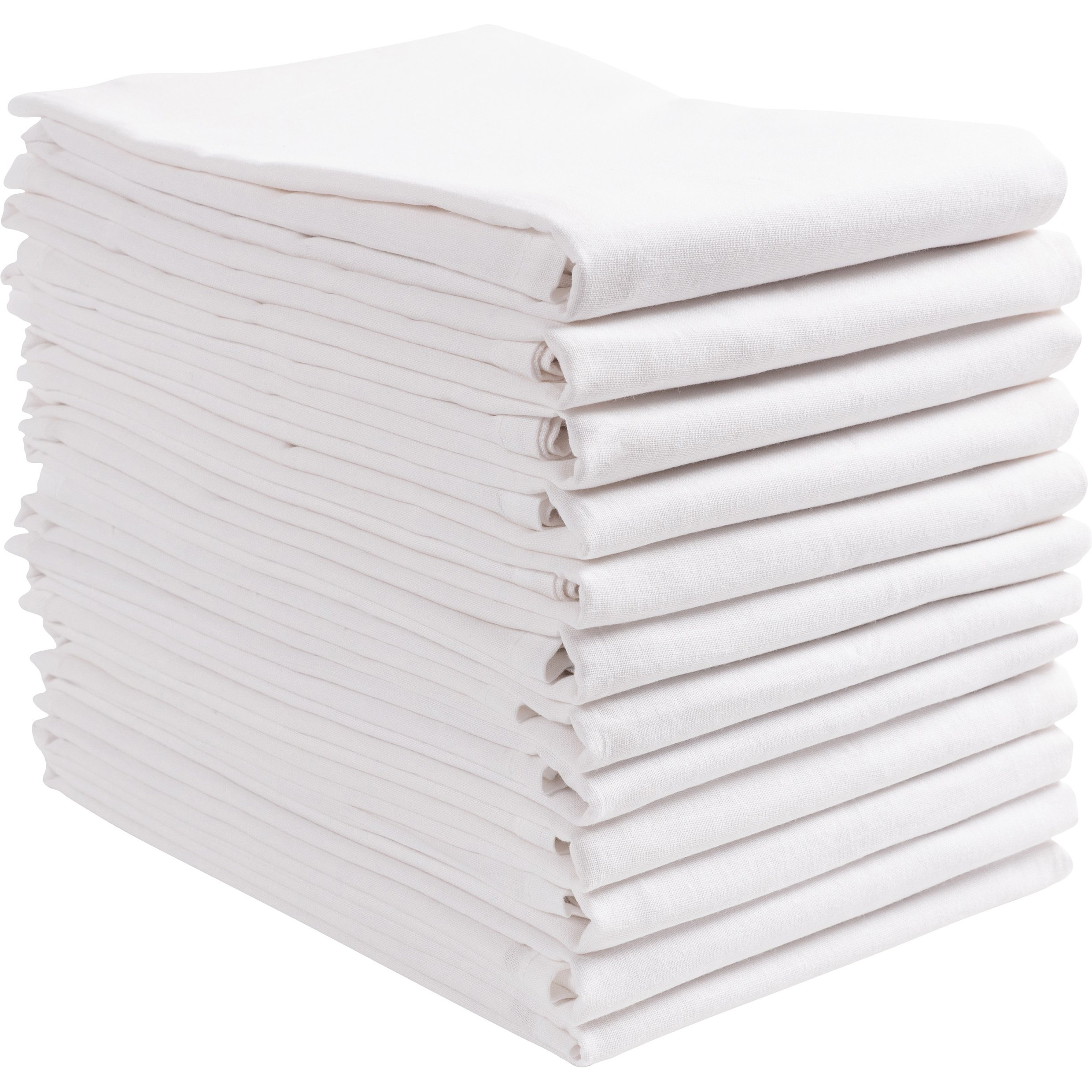 KAF Home Set of 12 White FLAT Flour Sack Embroidery/Craft Towels, 100-Percent Cotton, Absorbent, Extra Soft (20 x 30-Inches, FLAT)