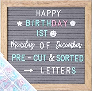 G GAMIT Felt Letter Board Message Board 10x10inch with Stand,Pre-cut&Sorted 805pcs White,Blue&Pink Changeable Letters+Weeks &Months Cursive Words,Word board Sign board with Sorting Tray&Gift Box(Gray)