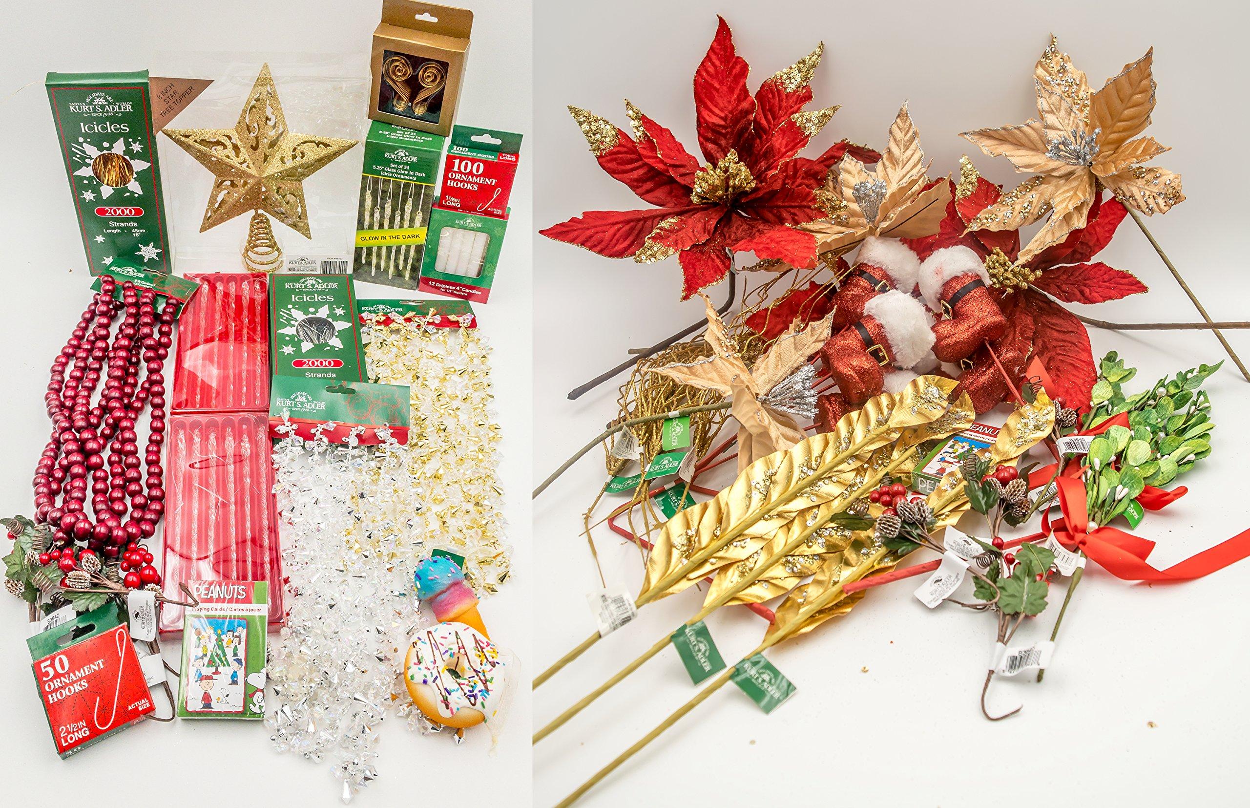 JZ Bundles Large Set - Best of Christmas Decorations - Kurt Adler - 58-Piece Bundle - A Bundle of Christmas Ornaments Great Gift