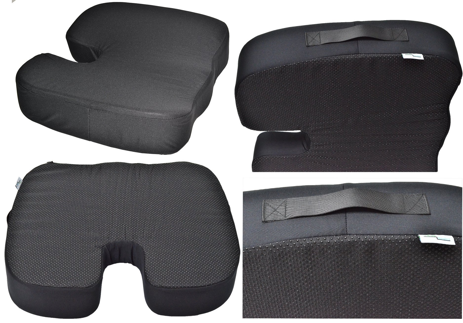 OKWU COMFORT 4 Inches Thick Coccyx Orthopedic Pressure Relieving Memory Foam Seat Chair Car Pad Cushion Non Skid Slip, Black Large Thick Firm 18x16x4